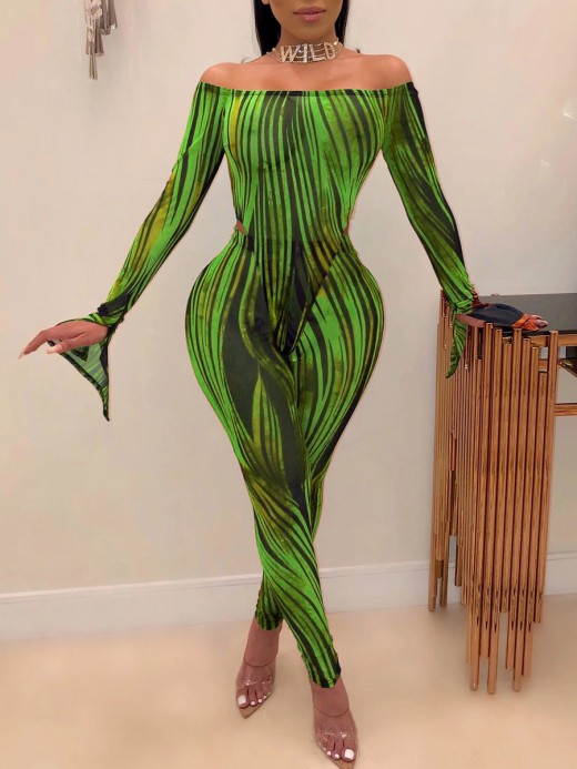 Premium Quality Green Abstract Paint One Shoulder Two Pieces All-Match Style