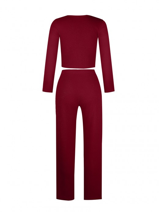 Smooth Wine Red Two Pieces Rib Floor-Length Solid Color Good Elasticity