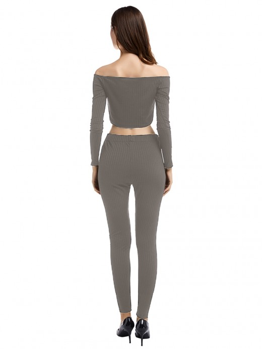 Dainty Gray 2 Pieces Long Sleeve Solid Color Free Time