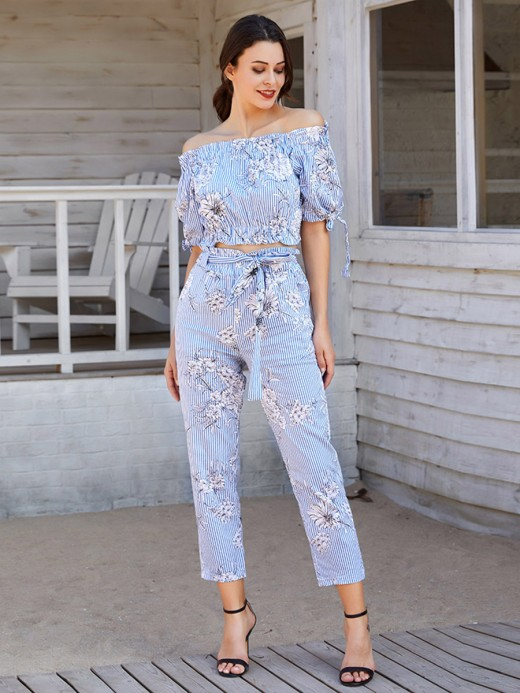 Exquisite Off-Shoulder Two-Piece Top And Pants Comfort Fabric