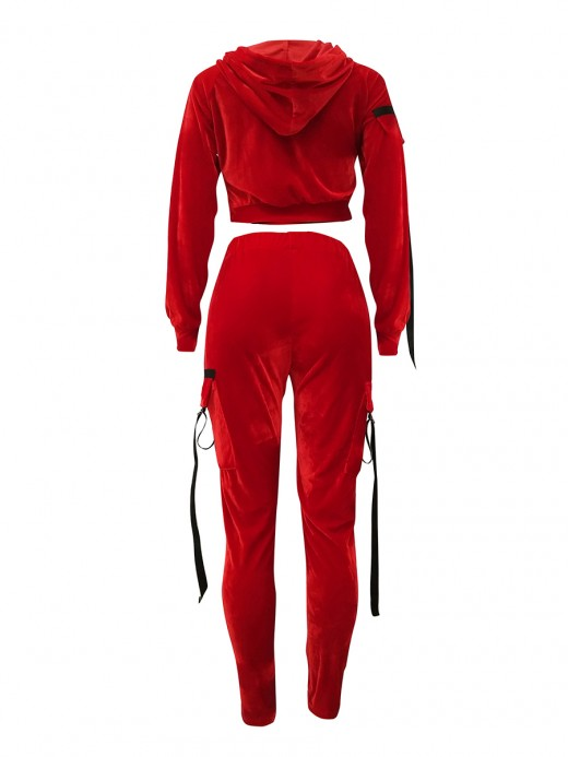 Fascinating Red Two Pieces Hooded Collar Pockets Splendid Look