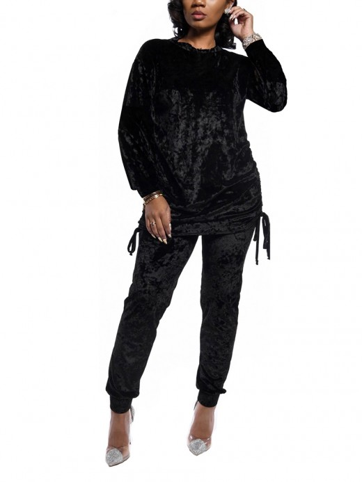 Breathable Black Two-Piece Solid Color Drawstring Outfit