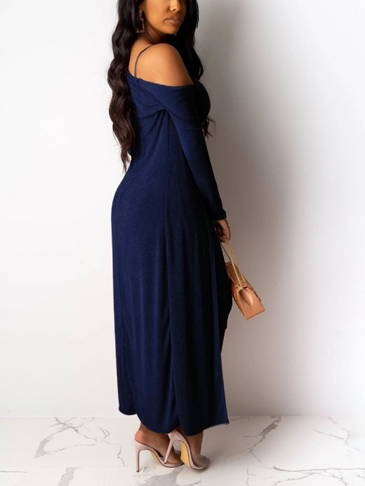 Dishy Royal Blue Solid Color Bodycon Dress And Cardigan Leisure Time