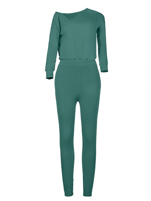 Smooth Green Sloping Shoulder Full Sleeves Top Suit For Women