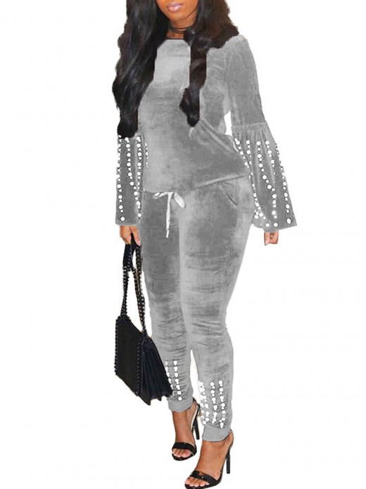 Premium Quality Gray 2 Pieces Pearl Sleeve Ankle Length Women Outfit