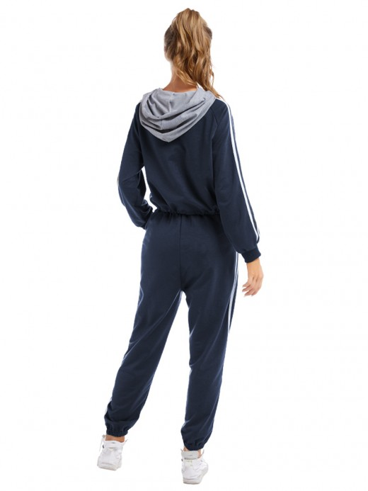 Scintillating Blue Two-Piece Full Length Hooded Neck Loose