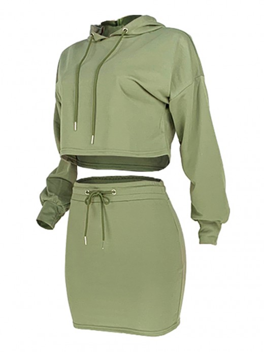 Tantalizing Green 2-Piece Solid Color Cropped Mini Length Fashion