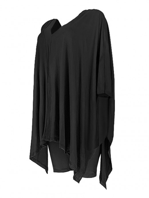 Glorious Black V Neck Top Suit 3/4 Sleeves Side Slit Snug Fit