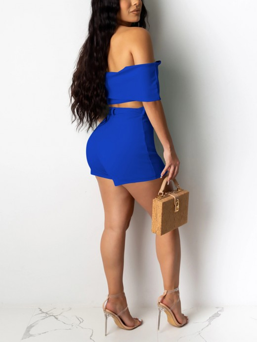 Paradise Blue Flat Shoulder High Waist Crop Top Suit Breath