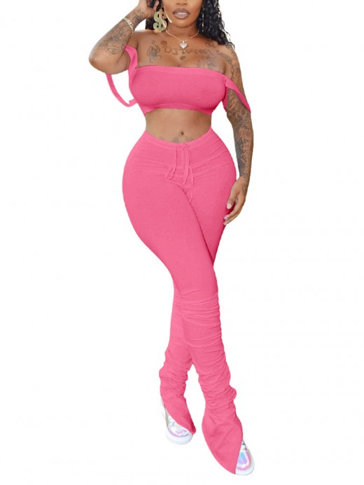 Fad Pink Crop Tube Top And High Waist Legging Casual Women