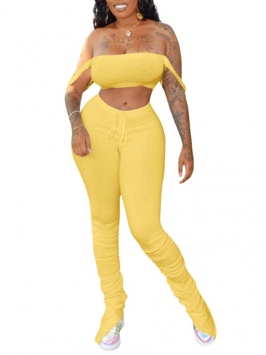 Feminine Yellow Crop Top Two-Piece Ruched Leggings Chic Fashion