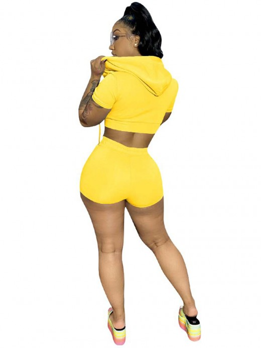 Marvelous Yellow Short-Sleeve Hoodie And Shorts Set Breath