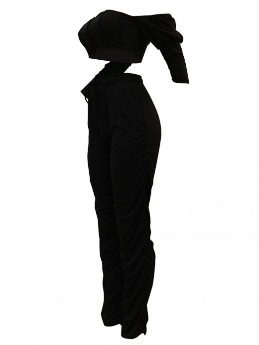 Homelike Black Front Hook Tube Top With Pleated Legging For Lounging