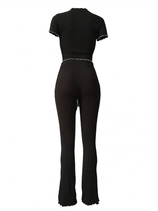 Luscious Curvy Black Front Tie Crop Top Fungus Hem Pants Set