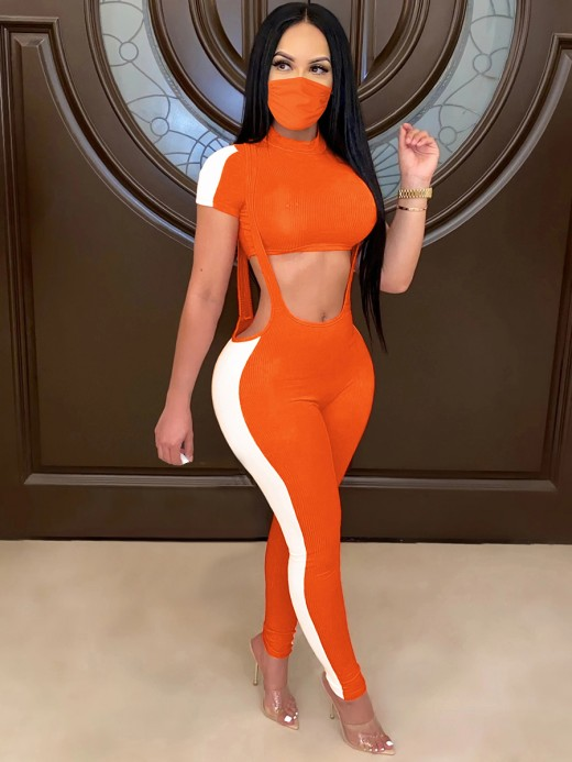 Noticeable Orange Short-Sleeve Top And Suspender Pants Set For Beauty