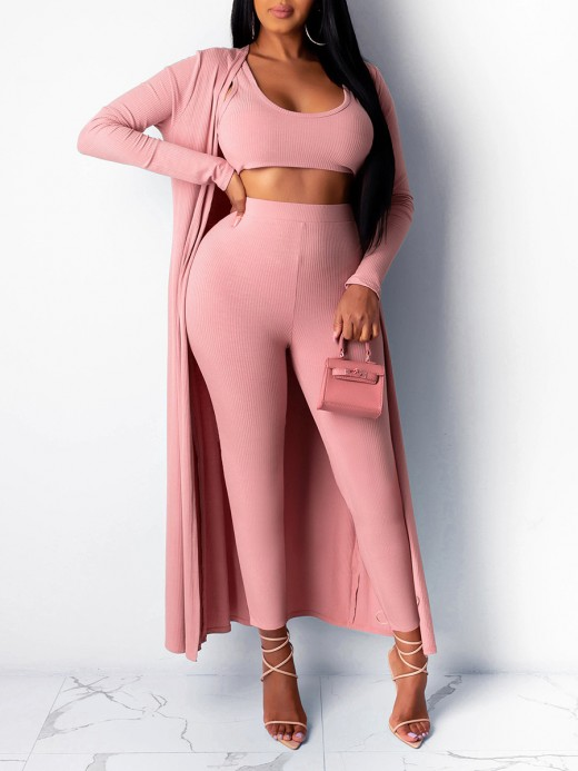 Nautically Pink Cropped Top Legging Set With Cardigan Casual Women
