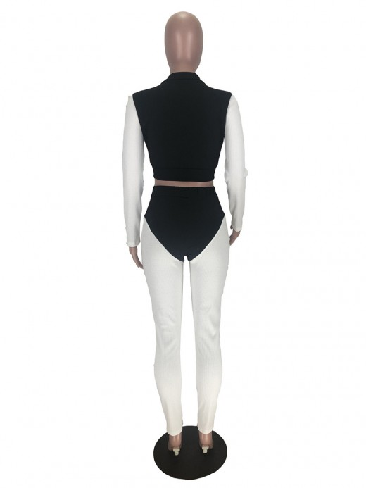 Lovely Black Cropped Top Two-Piece Colorblock Zip For Lounging