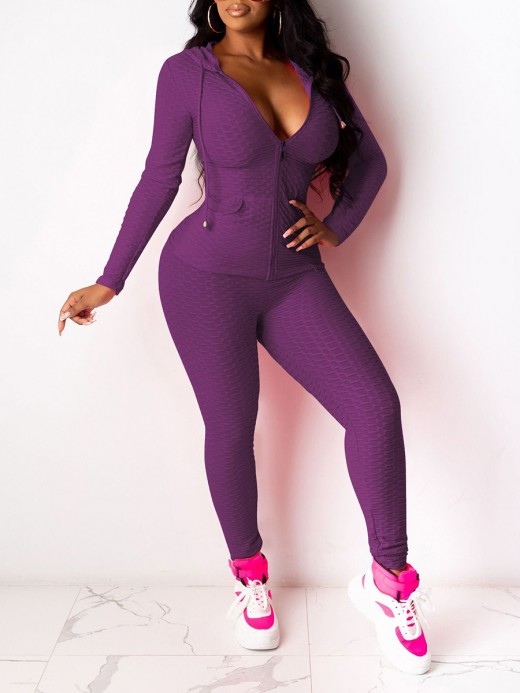 Purple Hooded Collar Top Solid Color Leggings Shop Online