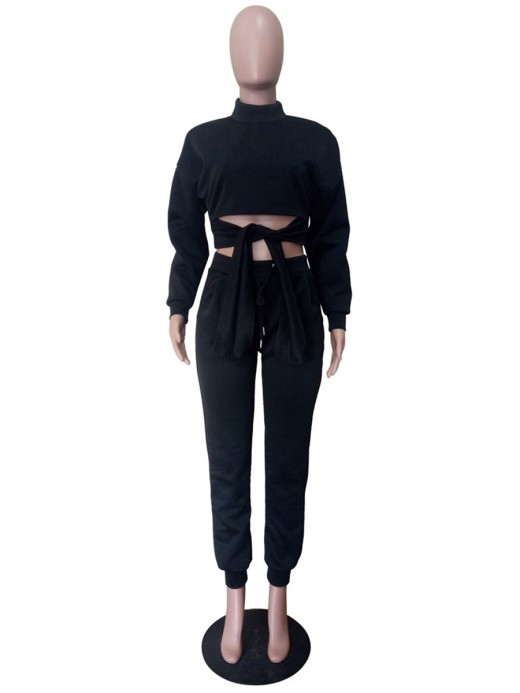 Black Tie-Waist Cropped Top And Sweatpants Women's Clothing