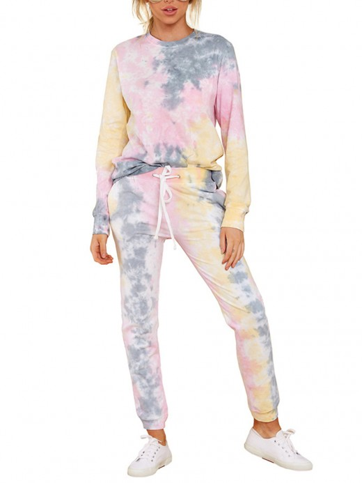 Pink Drawstring Waist Pants Tie-Dyed Top Set Female Clothing