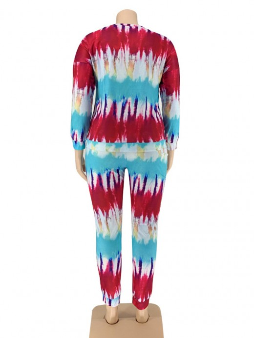 3/4 Sleeve Plus Size Women Suit Tie-Dyed Cheap Online Sale