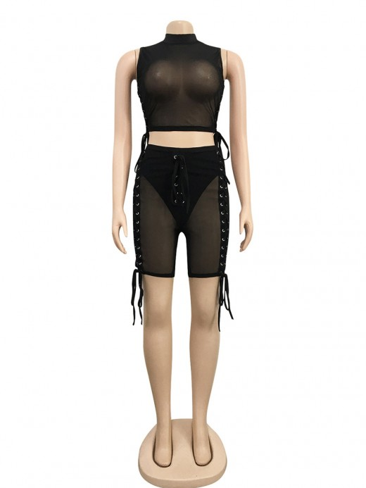 Black Sheer Mesh Lace-Up Sleeveless Women Suit Cheap Fashion Style