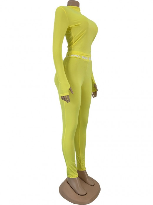 Solid Color Women Suit Yellow Letter Paint Womens Apparel