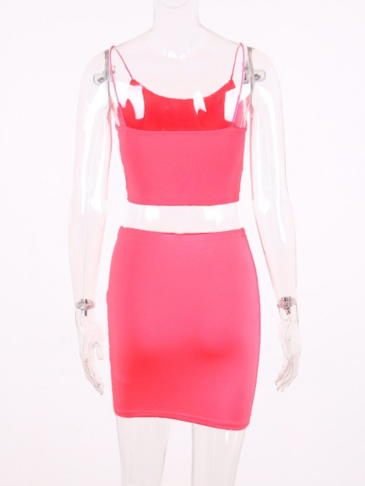 Pink Square Collar Skirt Sets Solid Color For Sauntering