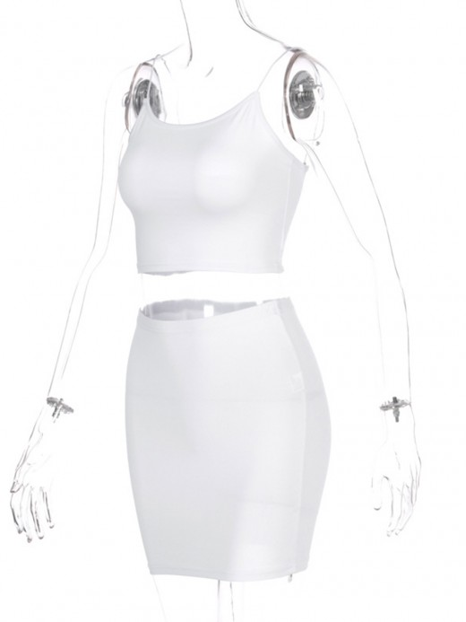 White Spaghetti Strap High Stretch Women Suit For Women