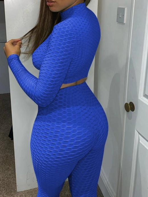 Blue Jacquard Long Sleeve Crop Sports Suit Comfort Fabric