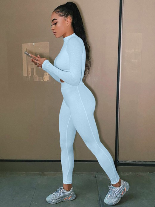 Sweat Suit Blue Full Length Solid Color Cheap Online