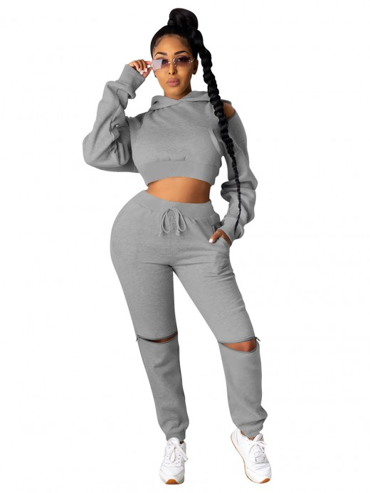 Gray Hollow Out Solid Color Women Suit For Ladies