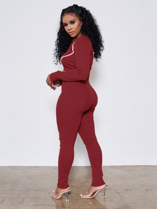 Wine Red Reflective Zip Neckline Two Piece Outfits Best Materials