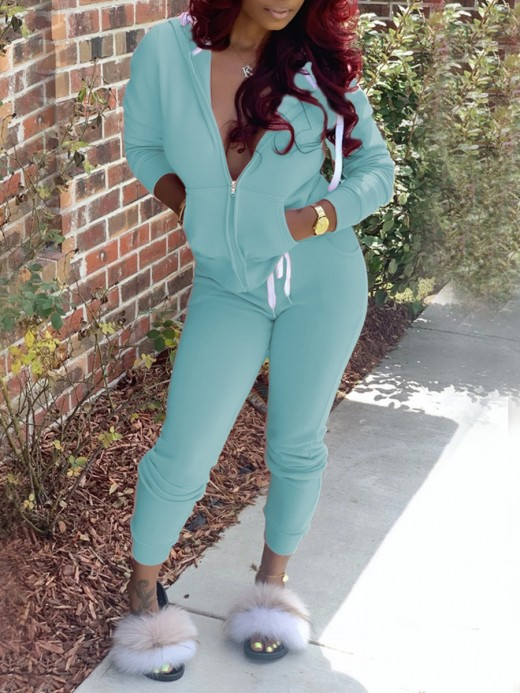 Light Blue Solid Color 2 Piece Outfit High Waist Smooth