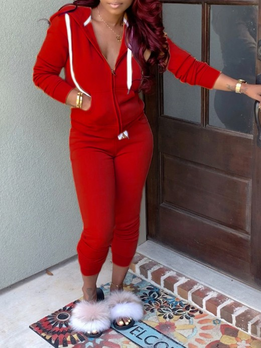 Red Long Sleeve Hood Zip Two Piece Outfit Comfort Fabric