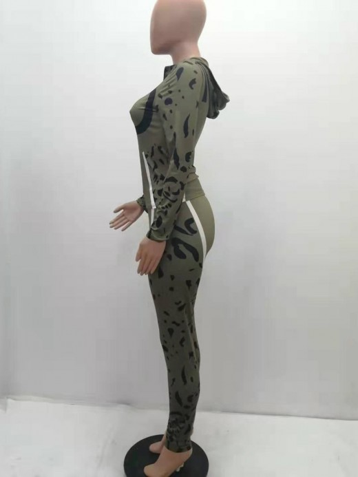 Blackish Green Camouflage Zip Neckline Two Piece Outfit Fashion