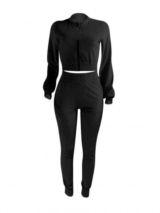 Black Golden Velvet 2 Piece Outfits With Pocket Leisure