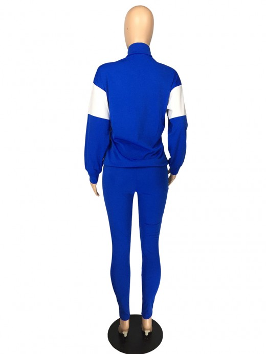 Blue High Waist Full Length Sweat Suit Versatile Item
