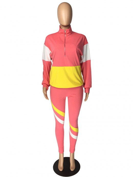 Pink Patchwork High Rise Zipper Women Suit Natural Women