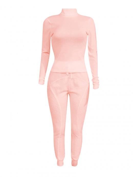 Pink High Waist Drawstring Two-Piece Outfits Cool Fashion