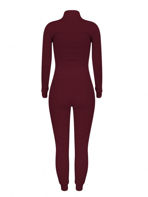 Wine Red Lamb Wool Two Piece Outfits High Waist Ultra Hot