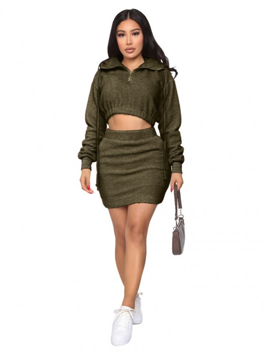 Army Green Solid Color Hooded Neck Skirt Set Fashion Online