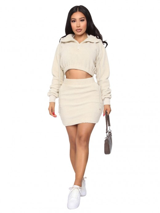 Off-White Skirt Set Drop Shoulder Thigh Length Womens Designer Clothing
