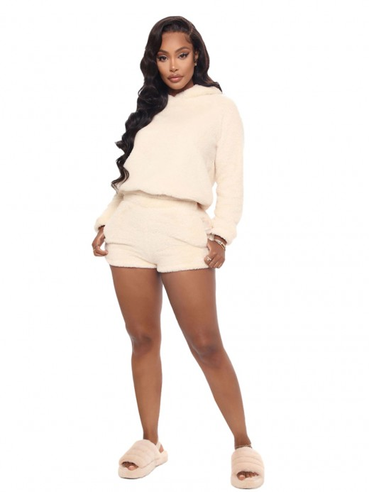 Creamy-White Velvet Hood Two Piece Outfit With Ears Outdoor