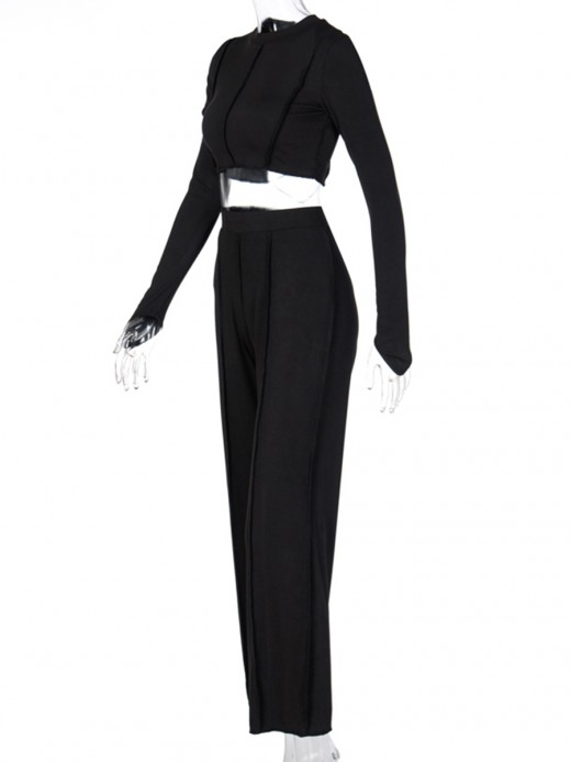 Black Long Sleeve Solid Color Women Suit Sensual Curves