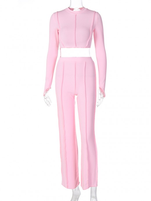 Pink Cropped Shirt Cut Out High Waist Pants Fabulous Fit