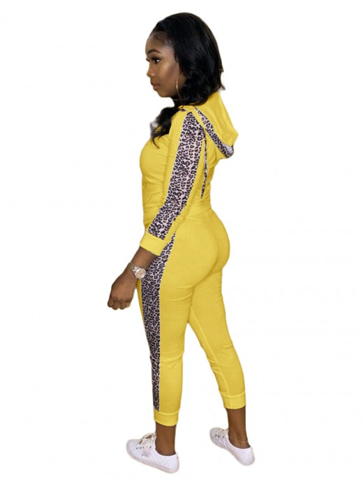 Yellow High Waist Leopard Print 2 Piece Outfit Women Outfit