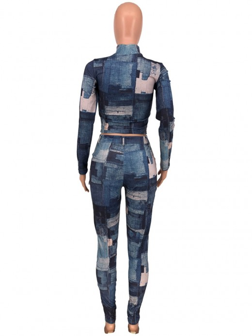 High Collar Jean-Like Print Women Suit Great Quality