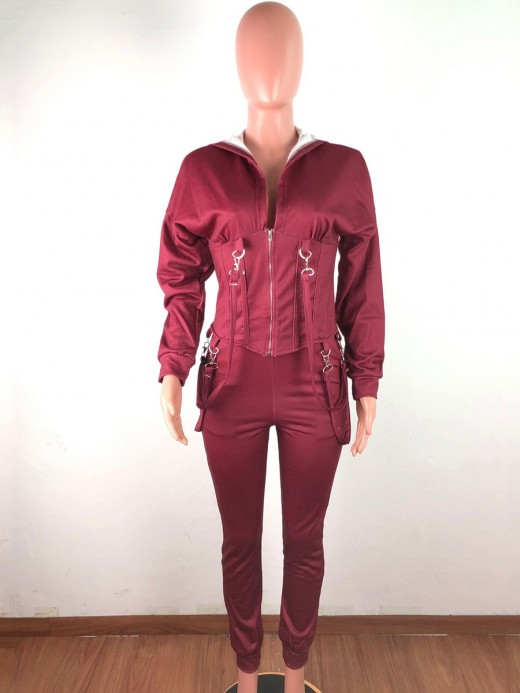 Wine Red Women Suit Drop Shoulder High Rise Smooth