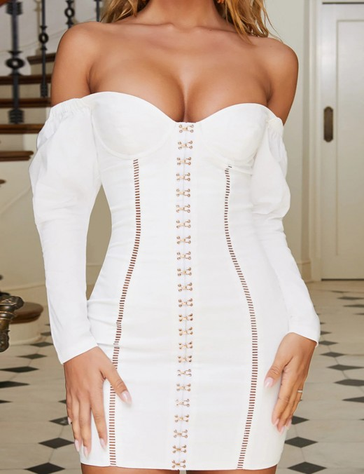 Flowing White Bodycon Dress Metal Buckles Open Back Feminine Curve
